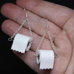 1 Pair Women Toilet Paper Roll Earrings Hook Ear Earring Wir
