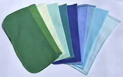 NEW 1 Ply Color Flannel Washable Blues and Greens Napkins 8x