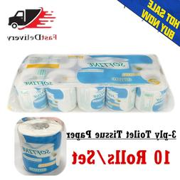 10 Rolls 3-Ply Unbleached Toilet Paper Tissue Safe Soft Kitc