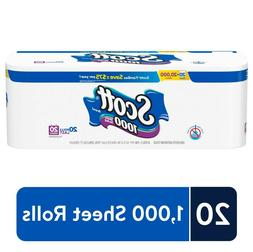 Scott 1000 Sheets Per Roll, Toilet Paper, 20 Rolls, Bath Tis