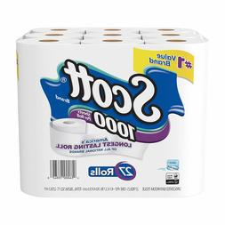 Scott 1000 Sheetsper Roll Toilet Paper, 27 Rolls, Bath Tissu