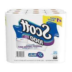1000 Sheetsper Roll Toilet Paper, 27 Rolls, Bath Tissue