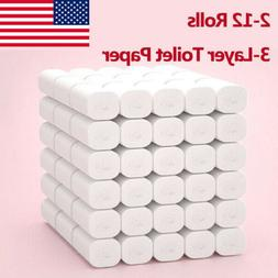 2/6/10/12 Rolls 3-Ply Unbleached Toilet Paper Tissue Soft Ki