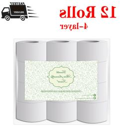 12/Rolls Toilet Paper Soft Absorbent Tissues Paper 4-layers