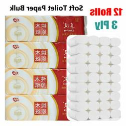 12Rolls Toilet Paper 3Ply Soft Strong Toilet Tissue Roll Pap