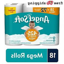 18 Mega Rolls Angel Soft Toilet Paper Flushable Tissue 72 Re