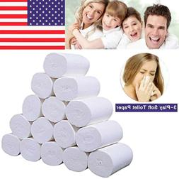 2/4/8 Rolls 3-Ply Unbleached Toilet Paper Tissue Soft Kitche