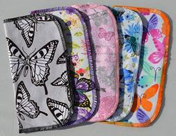 2 Ply Printed Flannel Washable. Butterfly Kisses Set Napkins