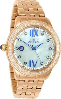 23663 Invicta Women's Angel Crystal Accented Bezel MOP Dial