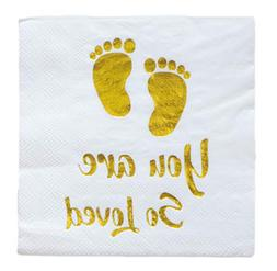 25 Baby Shower Beverage Disposable Napkin 3 Ply Gold Foil Fo