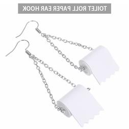 * US 2Pcs Silver Toilet Paper Roll Earrings Hook Ear Wire Po