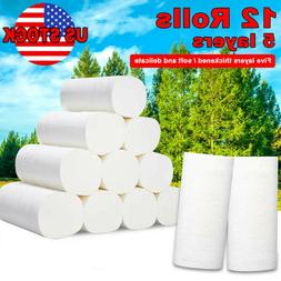 5 Layer Soft Toilet Paper 12 Rolls Strong Bulk Tissue Paper