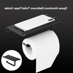 Aluminum Toilet Bathroom Paper Holder Mobile Phone Shelf Wal