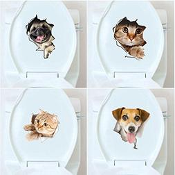 Bathroom Decor - Honana Bd-548 Broken Wall Kitten Doggie Wal