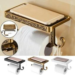 Bathroom Roll Tissue Rack Brass Toilet Paper Phone Holder wi