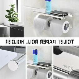Bathroom Toilet Paper Holder Towel Phone Storage Shelf Roll