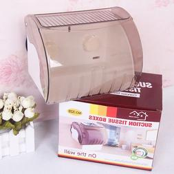 Bathroom Toilet Paper Tissue Dispenser Holder Case With Suct