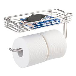 Bathroom Toilet Roll Paper Wall Mount Holder w/ Shelf Storag