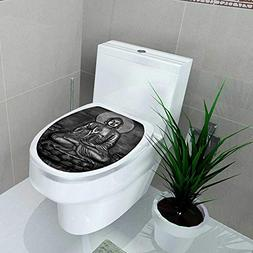 Auraise-home Bathroom Toilet seat Sticker Decal Carving of a