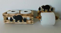 Black Bear Toilet Paper Holder & Matching Storage Tray a 2 P