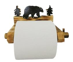 Black Bear Toilet Paper Holder Handcrafted Made of wood NEW!