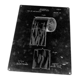 Black Toilet Paper Patent Drawing Metal Sign; Wall Decor for