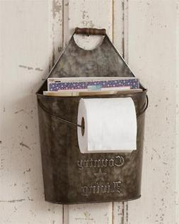 Country Living Metal and wood Bucket Toilet Paper & Magazine