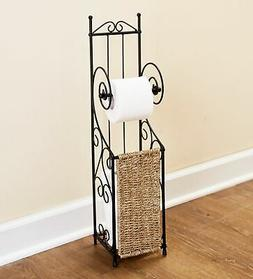 Decorative Metal Toilet Paper Holder Stand With Seagrass - 6