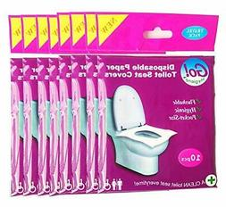 GoHygiene - Disposable Paper Toilet Seat Covers 8 PACKS  + 2