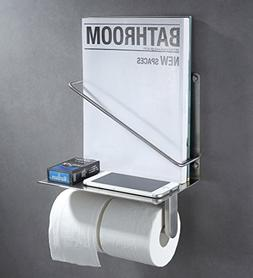Double Toilet Paper Holder with Magazine Rack, Angle Simple