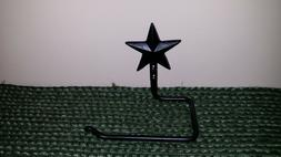 Forged Star Toilet Paper Holder, Black Wrought Iron, Wall Mo