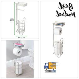 mDesign Freestanding Metal Wire Toilet Paper Roll Holder Sta