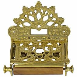 French Polished Brass Wall Toilet Paper Holder w Fan Crown T