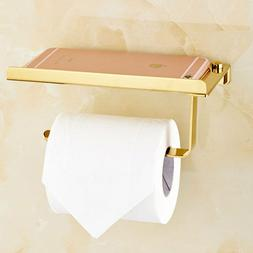 gold toilet paper holder mobile phone storage