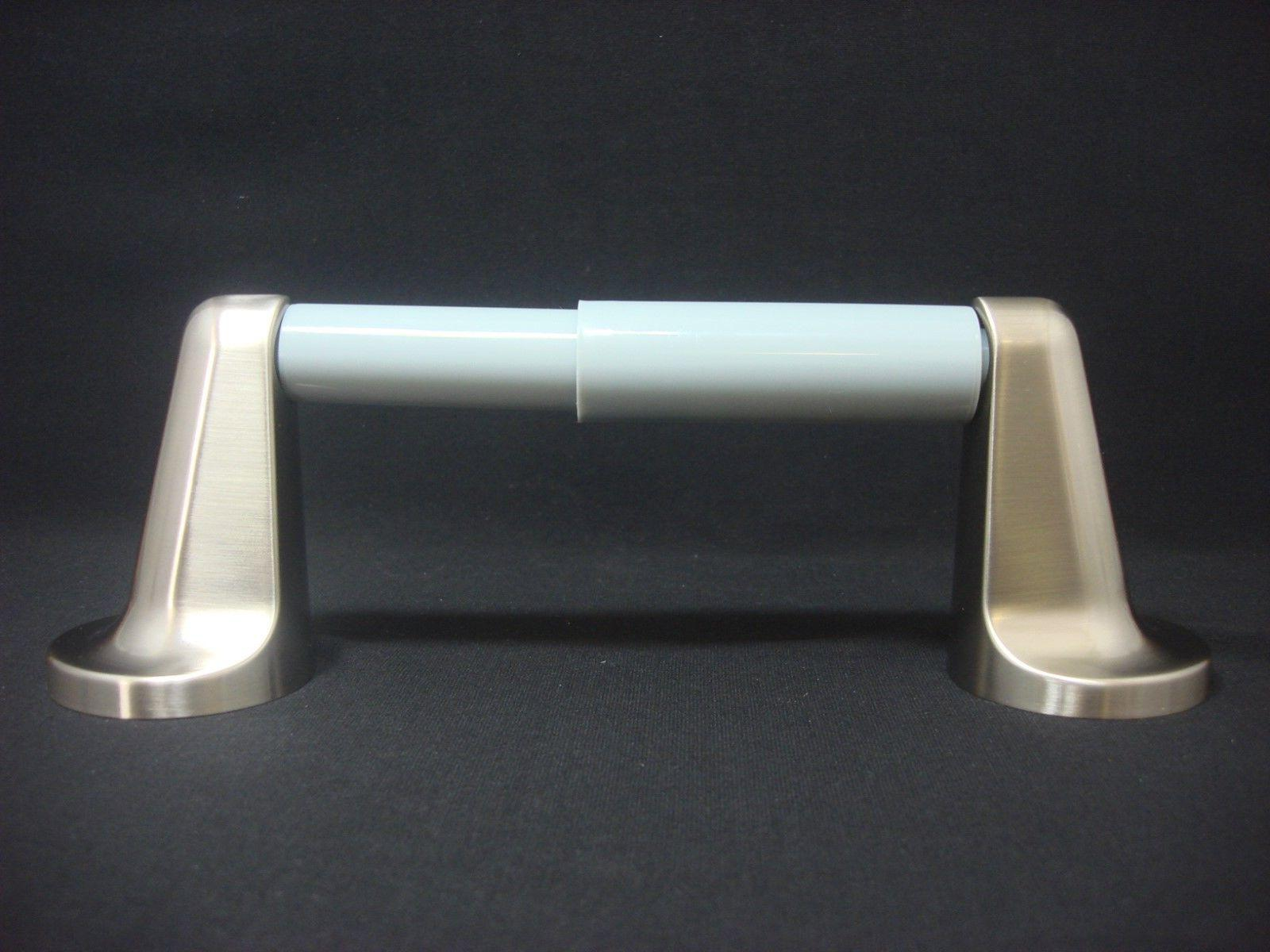 1 Hastra Toilet Paper Holder Satin Nickel With Gray Plastic