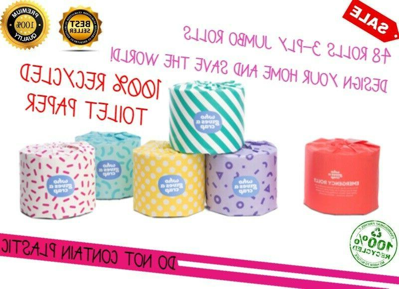 100% RECYCLED TOILET PAPER 3-PLY JUMBO ROLLS Design your hom
