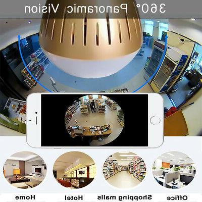 1080P HD 360° Panoramic Hidden wifi IP Camera Light Bulb Ho