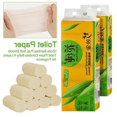12 rolls bamboo toilet paper tissue bath