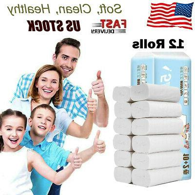 12 rolls household paper for bathroom tissue