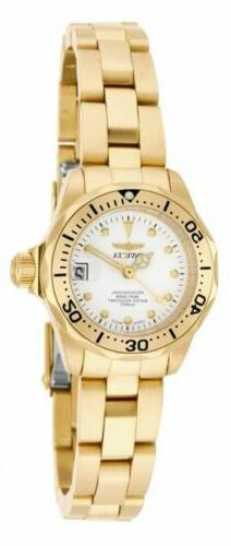 Invicta 17037 Lady's White Dial Yellow Gold Steel Dive Watch