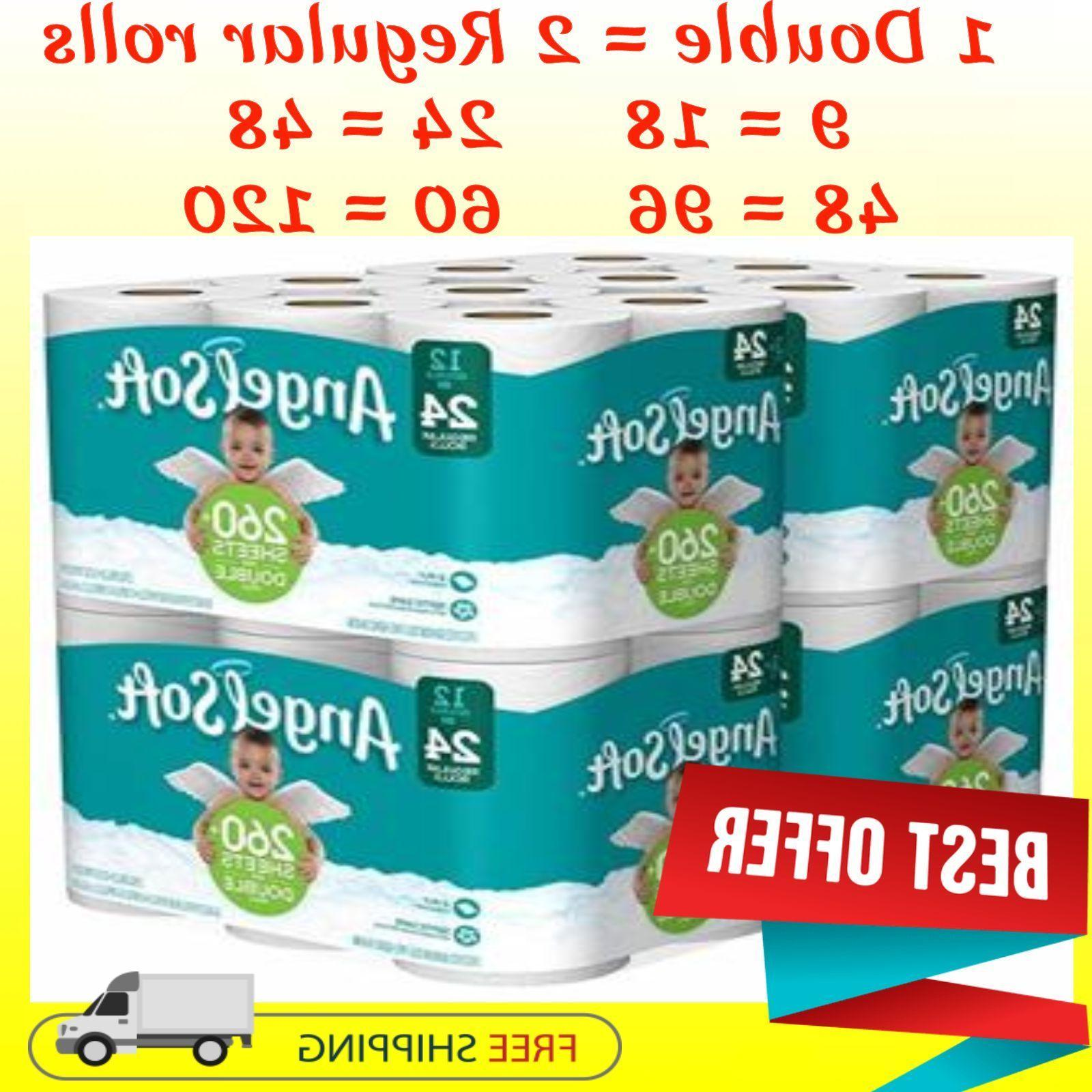 Angel Soft 2 Ply Toilet Paper Pack 24, 36, 48, 60 Double Rol