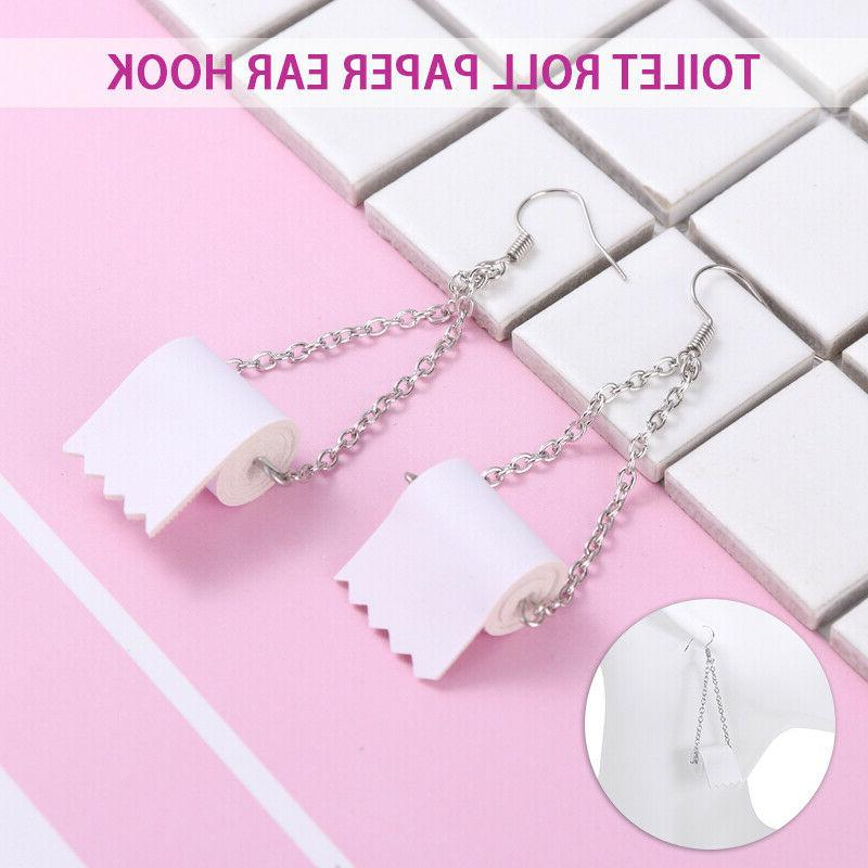 2Pcs Silver Toilet Paper Roll Earrings Hook Ear Wire Polymer