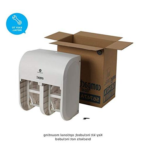 "Compact 4-Roll Quad Coreless High-Capacity Toilet Paper Dispenser by PRO, 56747A, 11.750"" x 6.900"" D H"