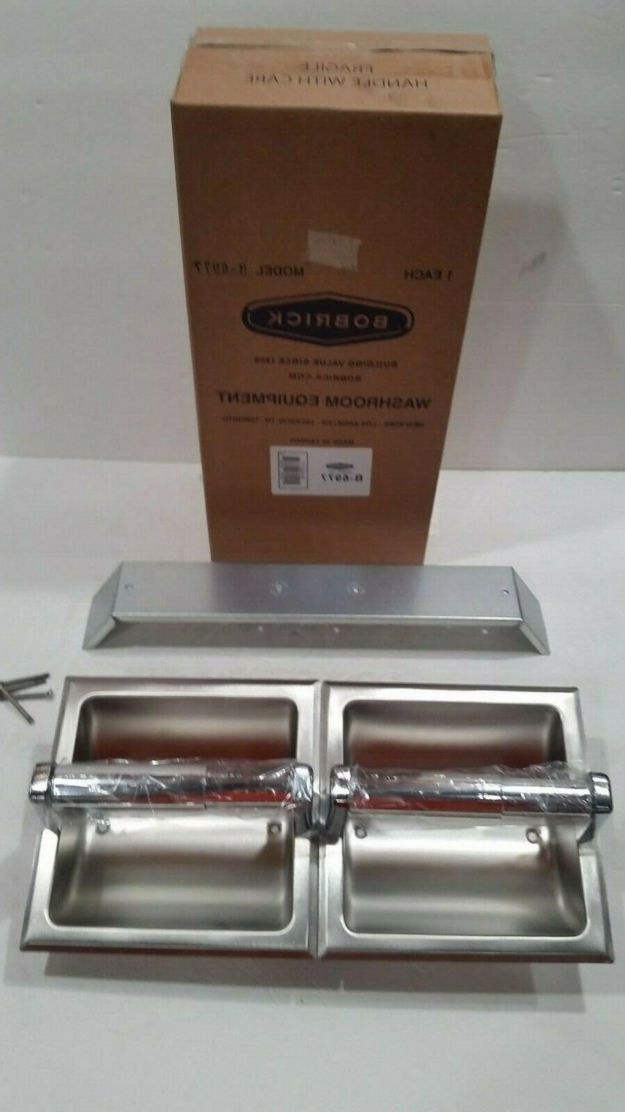 Bobrick 6977 Stainless Steel Recessed Dual Roll Toilet Tissu