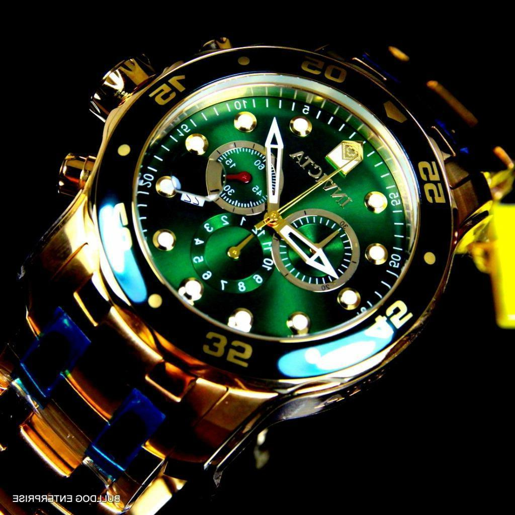 Mens Pro Scuba Gold Plated Chronograph Green New