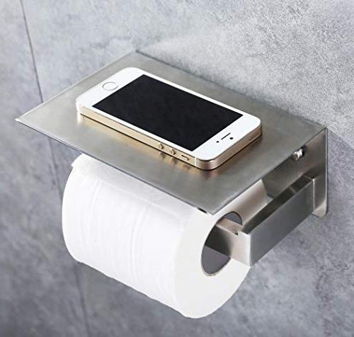 Toilet with Phone APL Accessories 304 Steel Dispenser Storage Mounted, Brushed Nickel