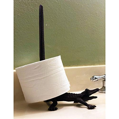 Alligator Cast Iron Paper Holder Tissue Roll Jewelry Organizer Free-Standing Bronze Rustic Decor