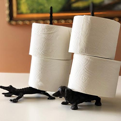 Alligator Paper Holder Bath Tissue Roll Organizer Bronze Decor