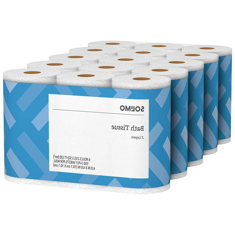 Amazon Brand- Solimo 2-Ply Toilet Paper, 350 Sheets Per Roll