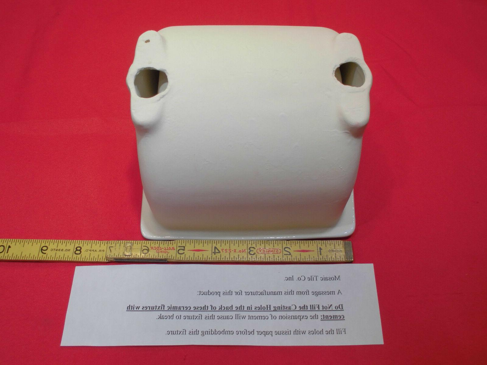 Vintage *Brilliant White* Full-Recessed Glossy Ceramic Toilet Paper Holder   NOS